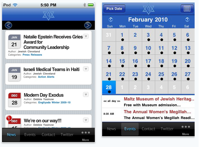A look at Jewish CLE's Calendar function