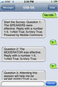 My conference session evaluation via SMS, on my iPhone